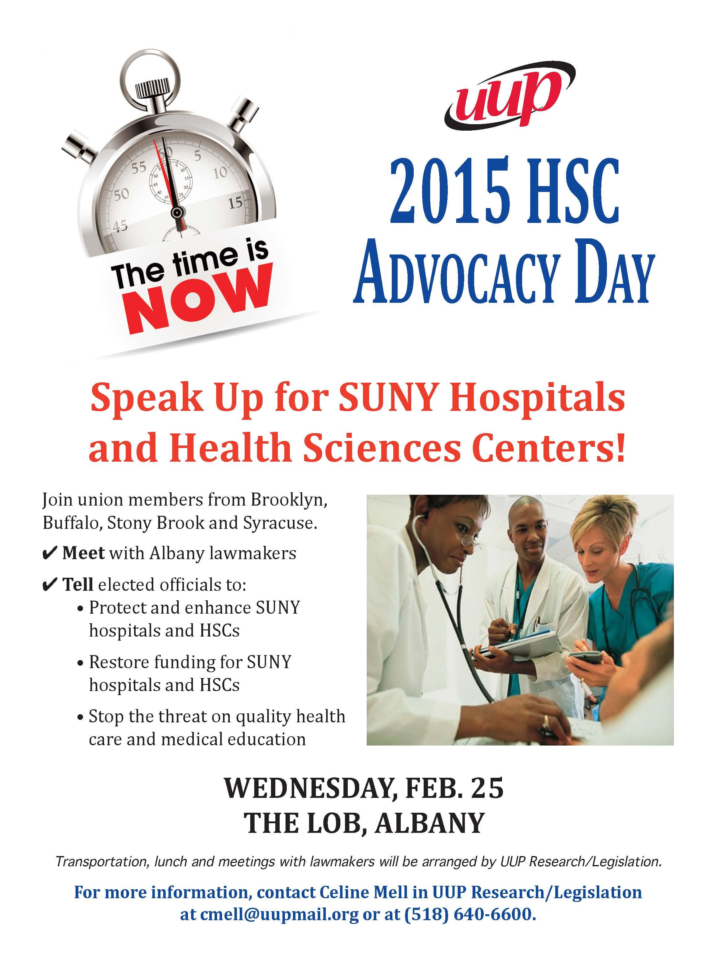 Sign up, speak up! Feb. 25 HSC Advocacy day